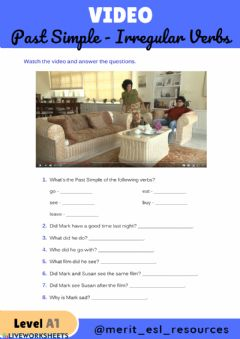 Interactive worksheet Past Simple Irregular Verbs - Video