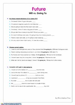 Interactive worksheet FUTURE (will vs going to)