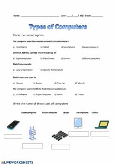 Interactive worksheet Types of Computers