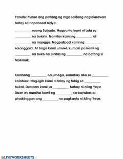 Interactive worksheet Talatang Naglalarawan worksheet