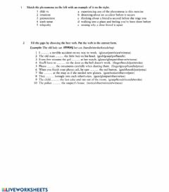 Interactive worksheet The six senses revision