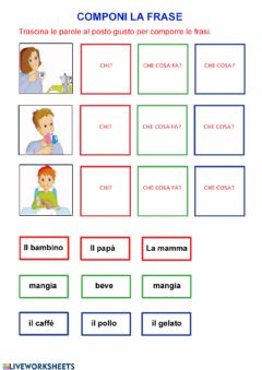 Interactive worksheet Componi la frase