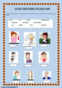 Interactive worksheet Aches and pains vocabulary