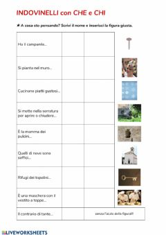 Interactive worksheet Indovinelli che - chi