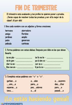 Interactive worksheet Examen unidades 7 y 8