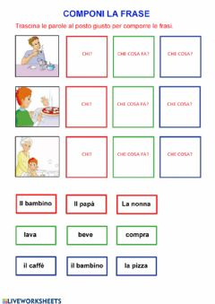 Interactive worksheet Componi la frase 2