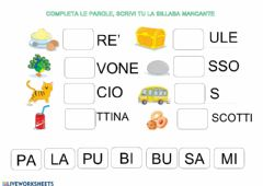 Interactive worksheet Completa le parole