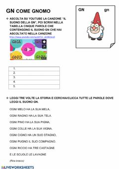 Interactive worksheet Il suono gn