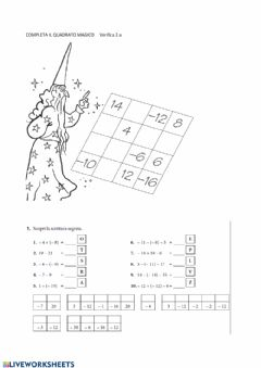 Interactive worksheet Numeri interi