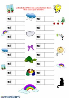 Interactive worksheet OW Words Listening Exercise