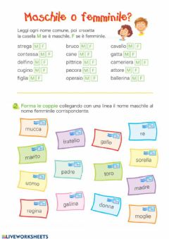 Interactive worksheet Il genero dei nomi