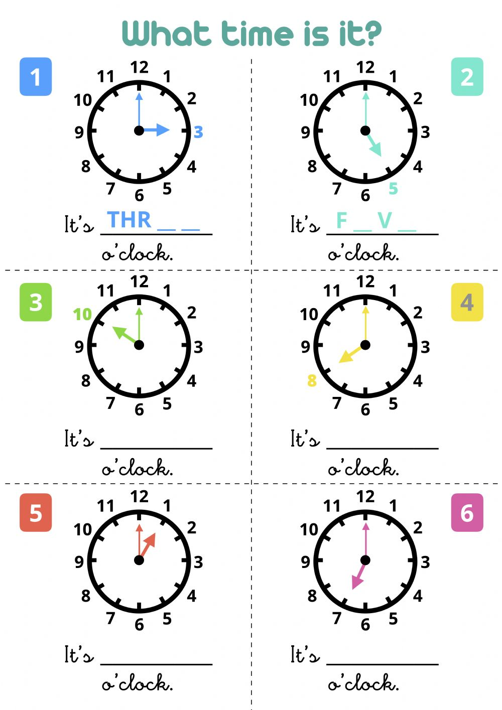 - What Time Is It? - O'clock - Interactive Worksheet