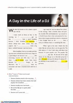 Interactive worksheet A day in a life of a DJ