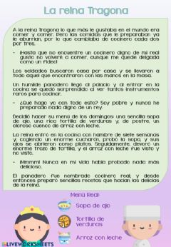 Interactive worksheet La reina Tragona