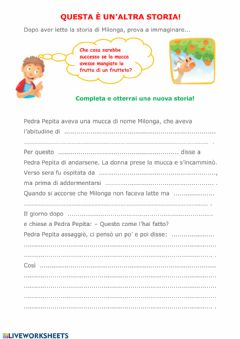 Interactive worksheet Completa la storia