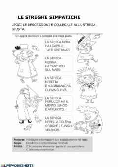 Interactive worksheet Le streghe simpatiche