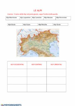 Interactive worksheet Le Alpi