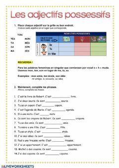 Interactive worksheet Les adjectifs possessifs 1 possesseur