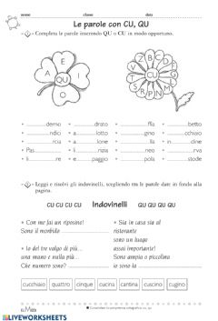Interactive worksheet Suoni cu-qu