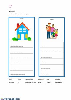 Interactive worksheet House and family categories-kids-a1