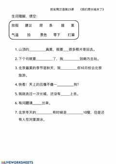 Interactive worksheet 新实用汉语l23