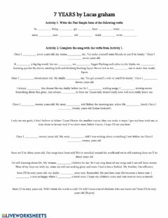 Interactive worksheet 7 years