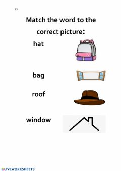 Interactive worksheet Picture word match