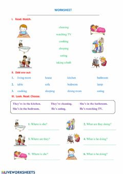 Interactive worksheet What is he doing?- house
