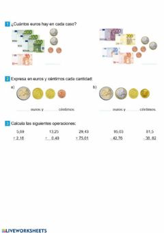 Interactive worksheet monedas