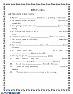 Interactive worksheet The Plural