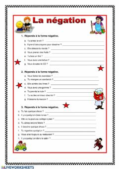 Interactive worksheet La négation3