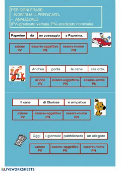 Interactive worksheet Predicato verbale e nominale