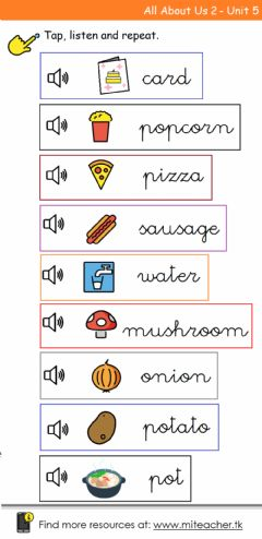 Interactive worksheet Party Food Pronunciation