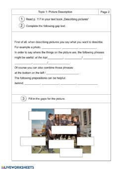 Interactive worksheet Describing Pictures