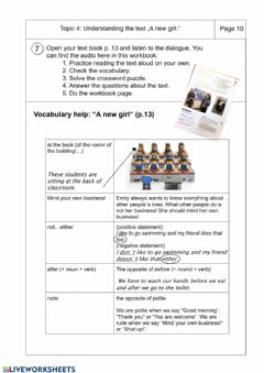 Interactive worksheet A new girl