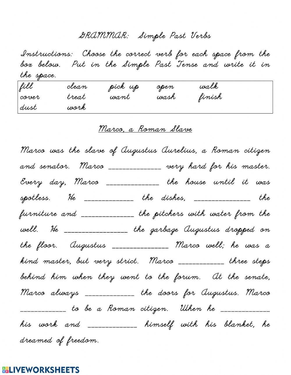 Simple Past Regular Verbs Fill In The Blank Stories Worksheet