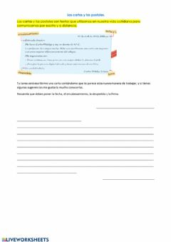 Interactive worksheet Las cartas