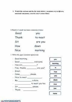 Interactive worksheet Greeting(easy dialogues)