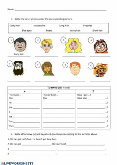 Interactive worksheet To be - Have got + adjectives