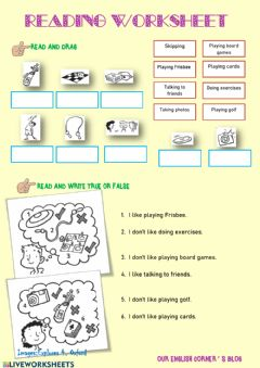 Interactive worksheet At the youth club:reading