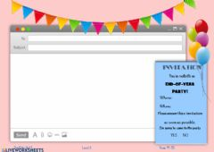 Interactive worksheet End of year party e-mail
