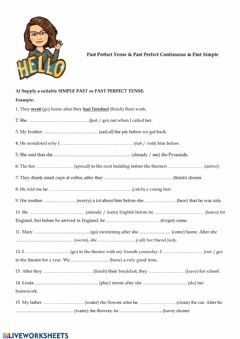 Interactive worksheet Past Simple, Past Perfect and Past Perfect Continuous