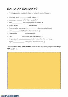 Interactive worksheet Could or couldn't?