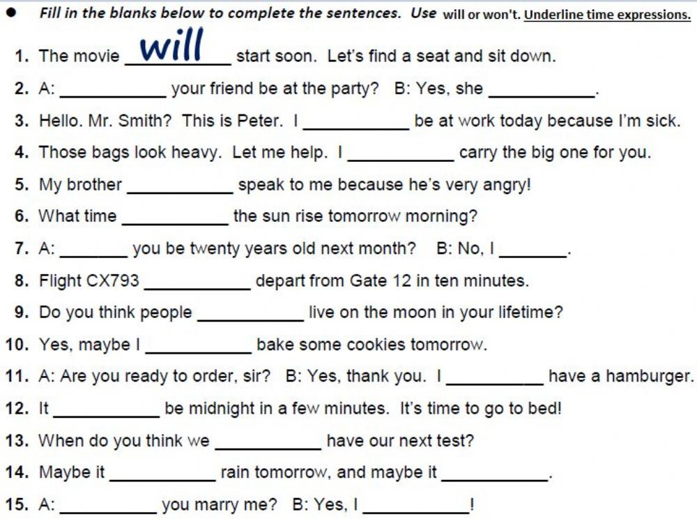 Future Simple Interactive Worksheet