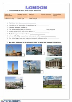 Interactive worksheet QUIZ London Landmarks