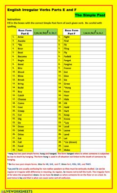 Interactive worksheet Irregular Verbs Past Simple Form