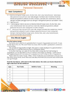 Interactive worksheet Recount text part 1