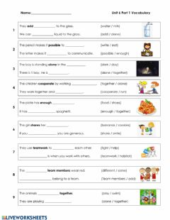 Ficha interactiva Unit 6 - Vocabulary Part 1