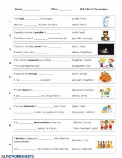 Interactive worksheet Unit 6 - Vocabulary Part 1
