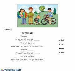 Interactive worksheet Toys song